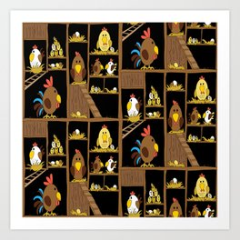 Chicken Coop - chickens, farm, illustration, birds Art Print