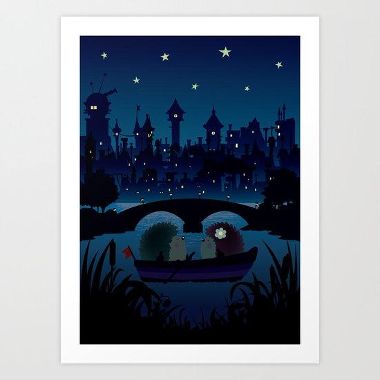 Hedgehogs in the night Art Print