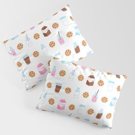 Milk and Cookies Pattern on White Pillow Sham