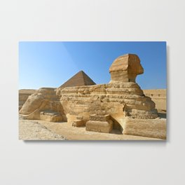 Great Sphinx of Giza with Khafre pyramid Metal Print