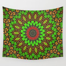 Lovely Healing Mandala  in Brilliant Colors: Green, Brown, Copper, and Maroon Wall Tapestry