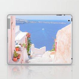 Santorini Greece Mamma Mia pink street travel photography Laptop & iPad Skin