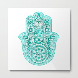 Turquoise Watercolor Hamsa Hand Metal Print