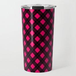 Neon Pink and Black Argyle Clan Check Pattern Travel Mug