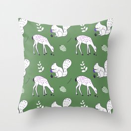 Wildlife - Happy Forest Animals Green Throw Pillow