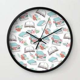 Books & Flowers Print Wall Clock