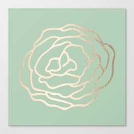 Rose White Gold Sands on Pastel Cactus Green Canvas Print