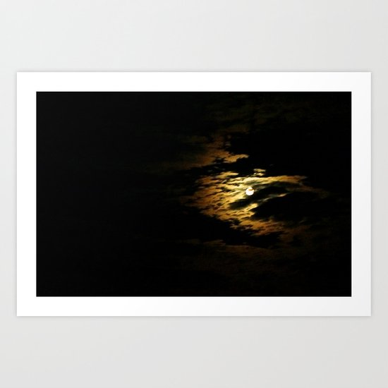 Clouded Moon Art Print