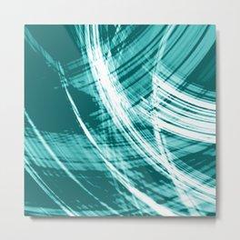 Reflective fibers of metallic light blue stripes with bright glow elements.  Metal Print