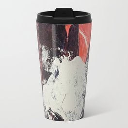 Amazon [2]: a bright, colorful, abstract piece in orange, red, deep purple, and light blue Travel Mug