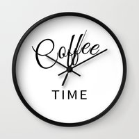 wall clock Wall Clocks featuring Coffee Time - Wall Clock by Whistle&Hum