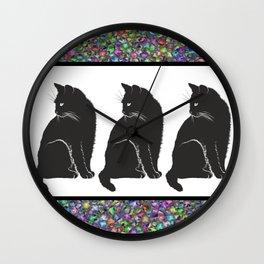 Three Black Cats Wall Clock