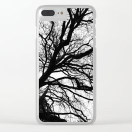 Tree forest wall art, trending minimalist Art, Minimalist, Black and White, Trees simple Clear iPhone Case