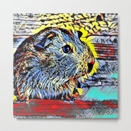 Color Kick - Guinea pig Metal Print