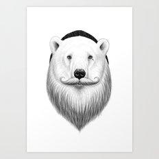 bearded white bear Art Print