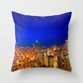 Chicago From Above - Golden Valleys Throw Pillow