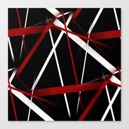 Seamless Red and White Stripes on A Black Background Canvas Print