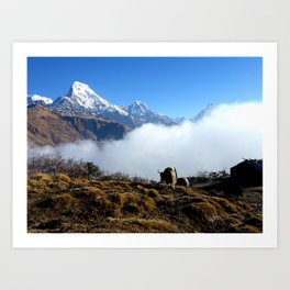 Panoramic View Of Everest Mountain Art Print