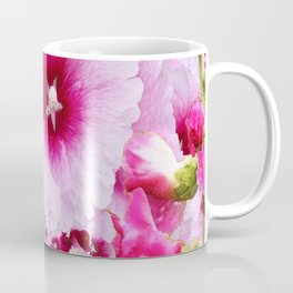 DECORATIVE FUCHSIA-PINK HOLLYHOCK  PATTERNS GARDEN ART Coffee Mug