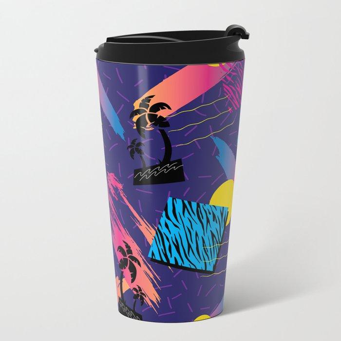 Retro Tropical Geometric Pattern Metal Travel Mug