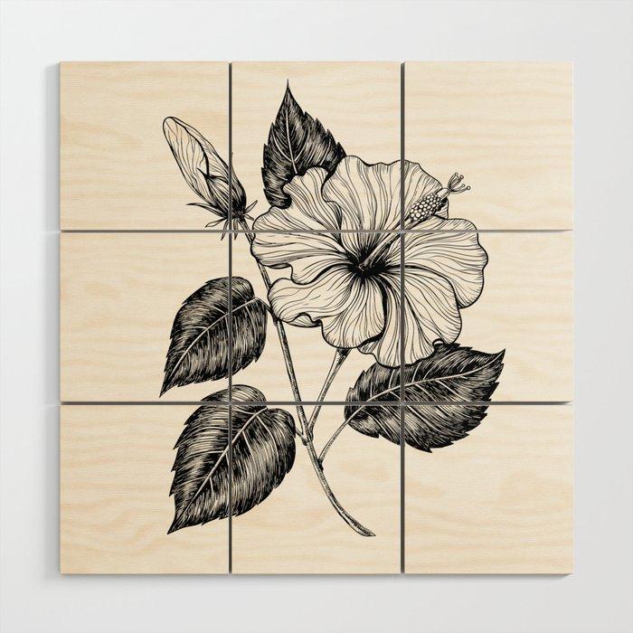 Hibiscus flower II Wood Wall Art by katerinamitkova | Society6