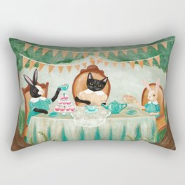 The Cat & Rabbits' Tea Party Rectangular Pillow