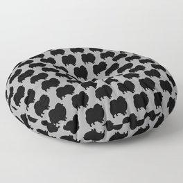Black Pomeranian Silhouette Floor Pillow