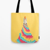 spaceship Tote Bags featuring Spaceship by Popsicle Illusion