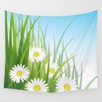 daisies Wall Tapestries featuring daisies by Li-Bro