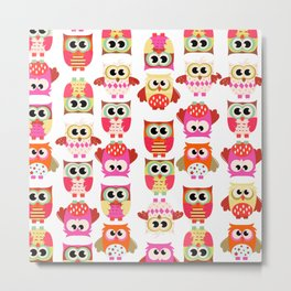 Funny cute hot pink yellow owl pattern Metal Print