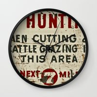hunting Wall Clocks featuring No Hunting! by Bruce Stanfield