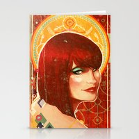 klimt Stationery Cards featuring KLIMT GIRL by Lorena Carvalho