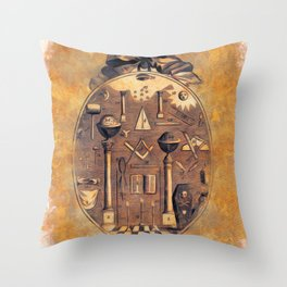 Symbols of the Freemasons Throw Pillow