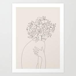 Woman with Flowers Minimal Line III Art Print