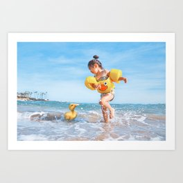 Ducks on the Beach Art Print