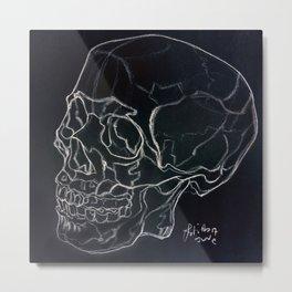 Cool Skull drawing white on black Metal Print