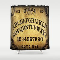 ouija Shower Curtains featuring Ouija Board by Lostfog Co↟
