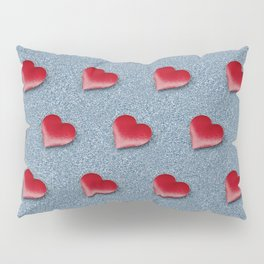 Red Hearts Pattern on a Blue Glitteret Background Pillow Sham