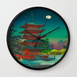 Tsuchiya Koitsu Vintage Japanese Woodblock Print Pagoda At Night Wall Clock