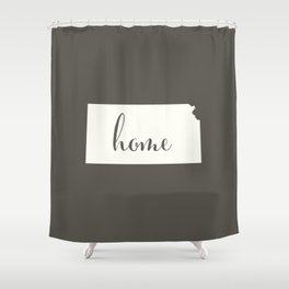 Kansas is Home - White on Charcoal Shower Curtain
