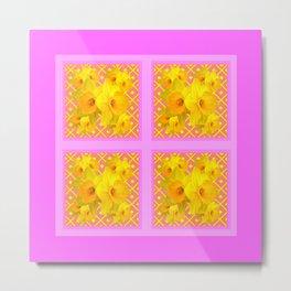 Fuchsia Quatre Panel Daffodil Pattern Metal Print