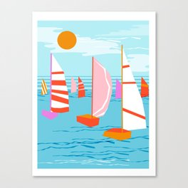 Quepasa - memphis throwback retro minimal modern neon boating yacht club sailing summer sport Canvas Print