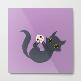 Kitty sugar skull Metal Print