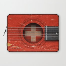 Old Vintage Acoustic Guitar with Swiss Flag Laptop Sleeve