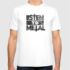 Listen to Metal Mens Fitted Tee MEDIUM White