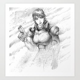 Commander Shepard in Dust Storm Art Print