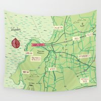 maps Wall Tapestries featuring Maps - Cape-Town by DRIEHOEK