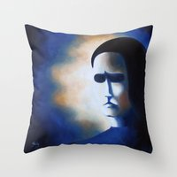 edgar allen poe Throw Pillows featuring POE by Sophie Klimos