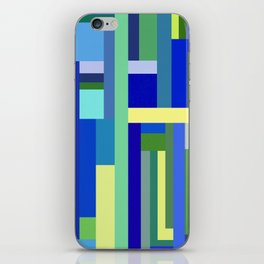 Abstract Blue Lime Pattern iPhone Skin