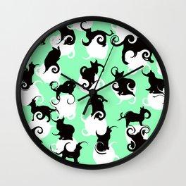 Tea Time Cat Swirls Wall Clock